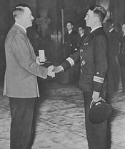 Prien receives his Knight's Cross from Hitler in Berlin